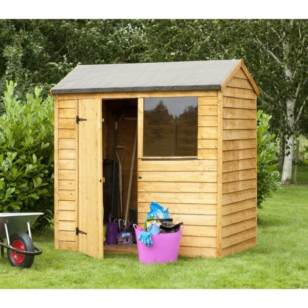 Forest garden 6x4 overlap reverse apex shed for Garden shed 6x4 sale