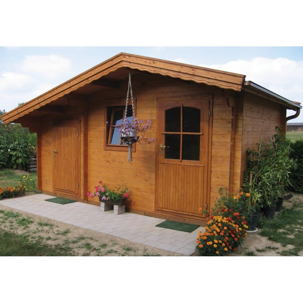 Bertsch Basel 2 Roomed Log Cabin With 70cm Front Canopy