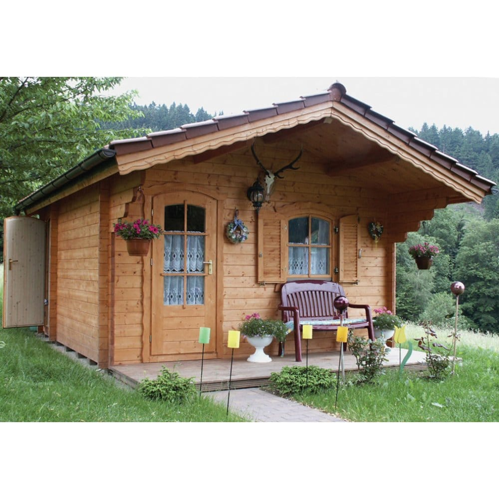 Bertsch bristol log cabin 2 rooms 58mm wall logs double for Extension en bois 20m2
