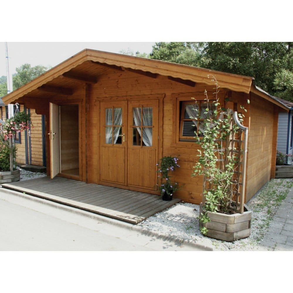 Bertsch holzbau cardiff log cabin 2 rooms 120cm canopy for Two room log cabin
