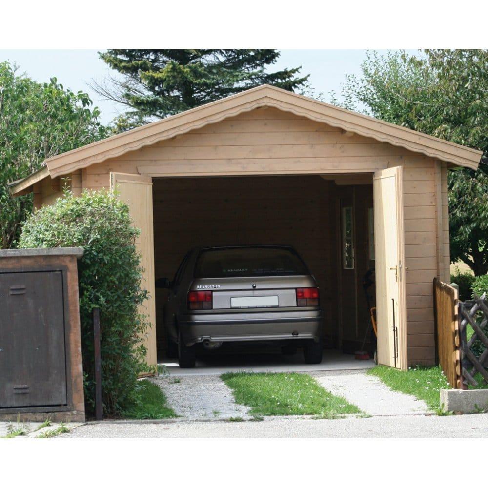 Bertsch Holzbau Log Cabin Garage Premium 380cm X 550cm