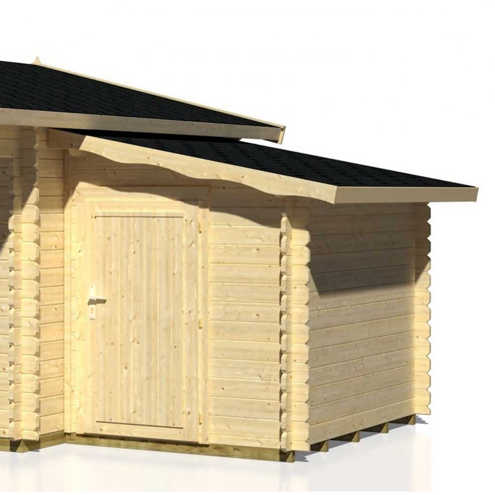 Gudrum Log Cabins Side Extension 28mm Wall Logs Includes