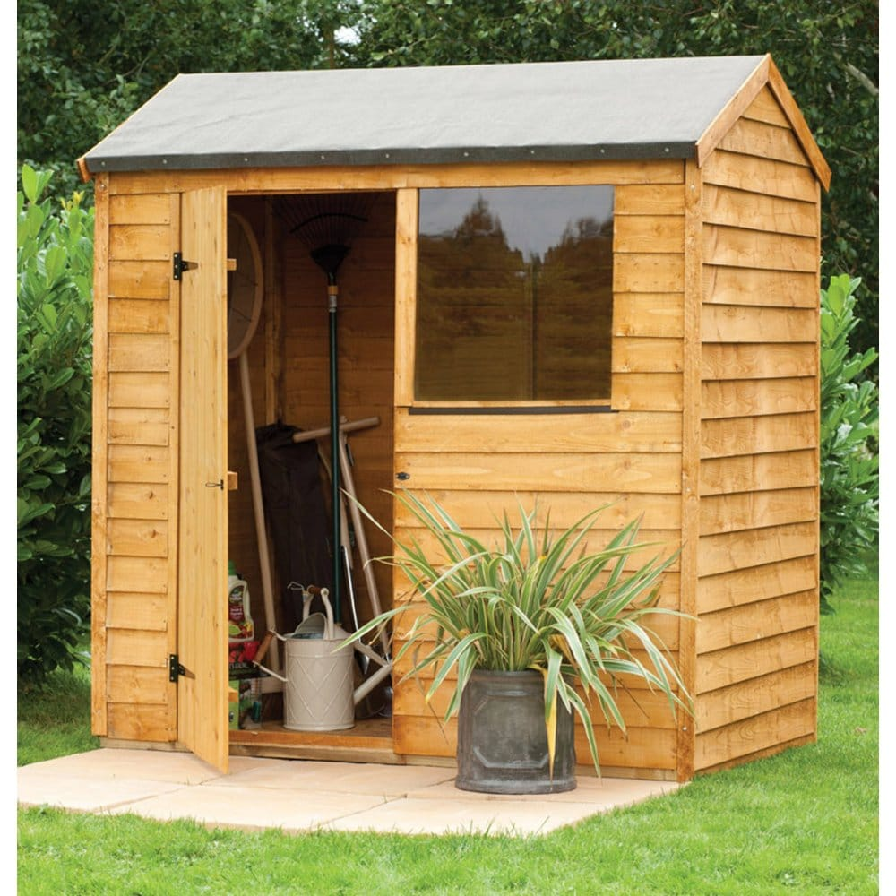 Forest garden 6x4 overlap reverse apex shed for Apex garden sheds