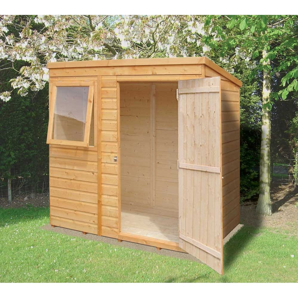 Shiplap pent garden shed 6ft x 4ft overlap with single door for Garden shed small