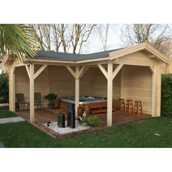 Bertsch helena 5 log cabin style gazebo l shaped design for L shaped shed designs