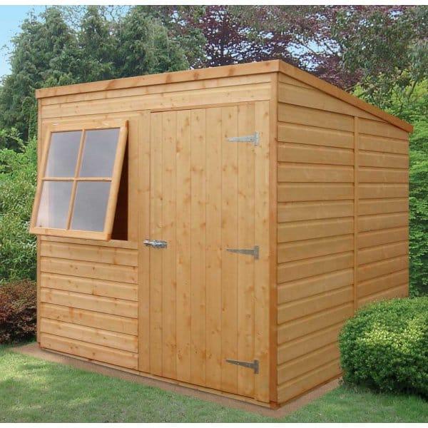 shire pent 7x7 shed shiplap single door1 opening window - Corner Garden Sheds 7x7