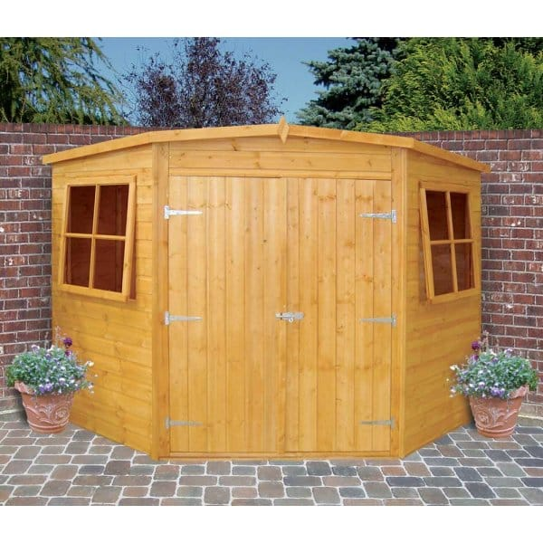 Shire corner shed with double doors for Low garden shed