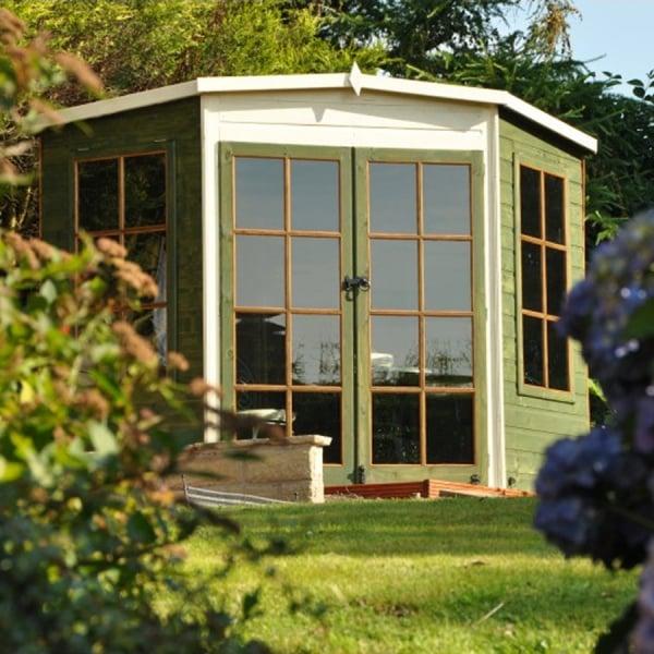 Corner Garden Sheds 8x8 hampton corner summer house, two sizes: 7x7 8x8. double doors