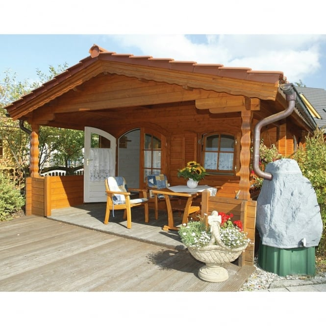 Colorado 45mm Wall Log Cabin with Roof Canopy