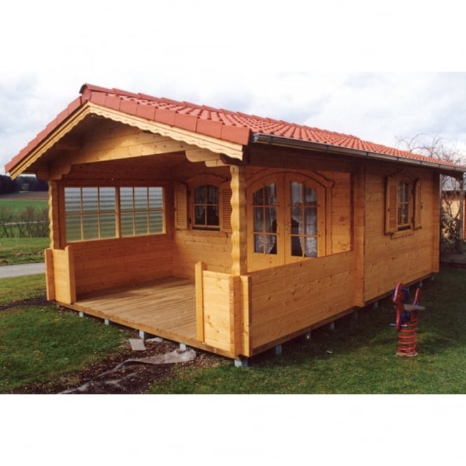 Bertsch Dundee Log Cabin With Roof Canopy