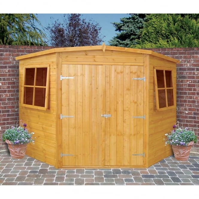 Shire Corner Shed Double Doors|Low Roof