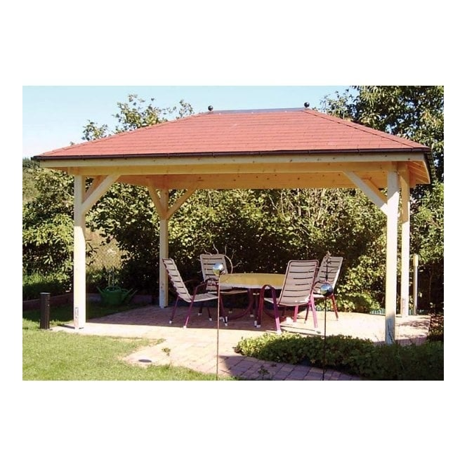 Helena open sided gazebo with sloped roof from for Pavilion cost per square foot
