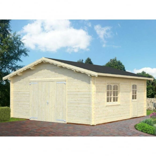 Dover 27.7m/sq Garage - 70mm Wall Logs - Double Glazed