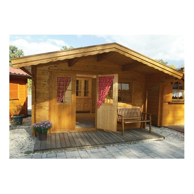 Bertsch Graz 33mm Wall Log Cabin with Roof Canopy
