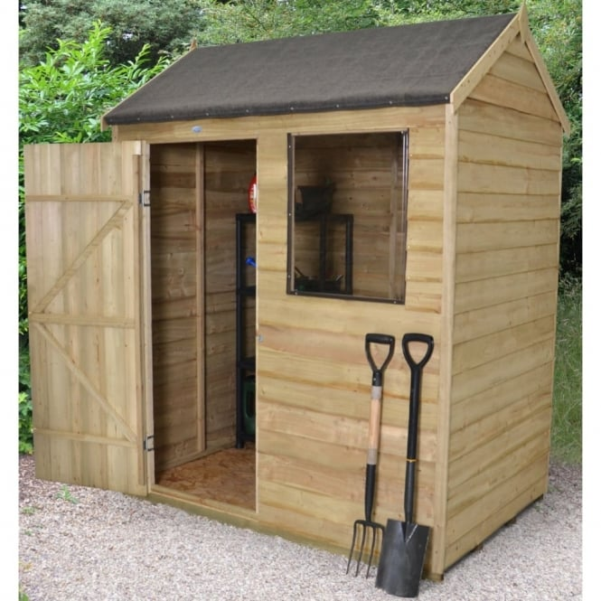Forest Garden 6 x 4 Overlap Pressure Treated Reverse Apex Shed