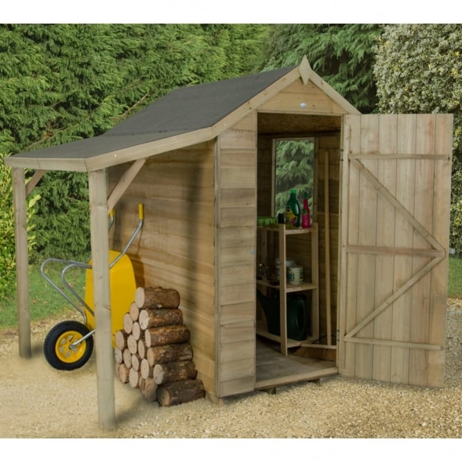 Forest Garden 4 x 6 Overlap Pressure Treated Apex Shed with Lean To