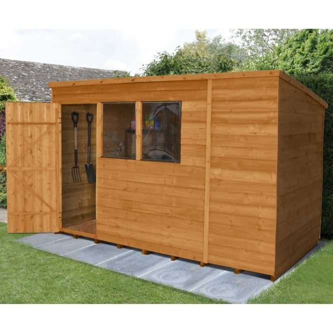 Image of 10 x 6 Overlap Dip Treated Pent Shed