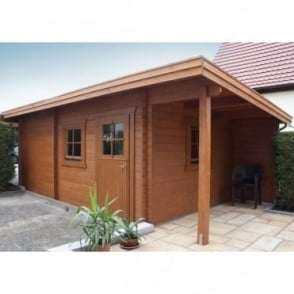 Grampian 70mm Wall Log Cabin with Canopy