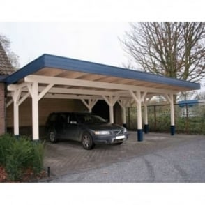 Carport 9.2m x 6.48m with Low Pitch Flat Roof