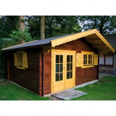 Aberdeen 70mm Wall Log Cabin with Shingle Roof