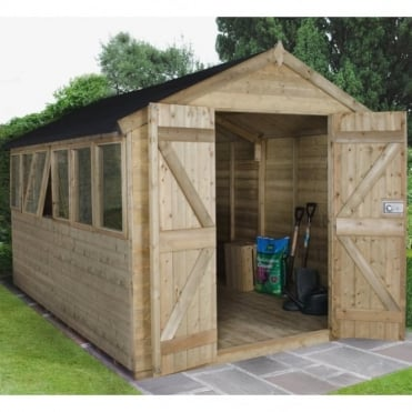 8 x 12 Premium Tongue and Groove Pressure Treated Apex Shed