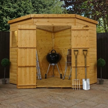 Mercia 7 x 7 Shiplap Pent Corner Shed Double Door