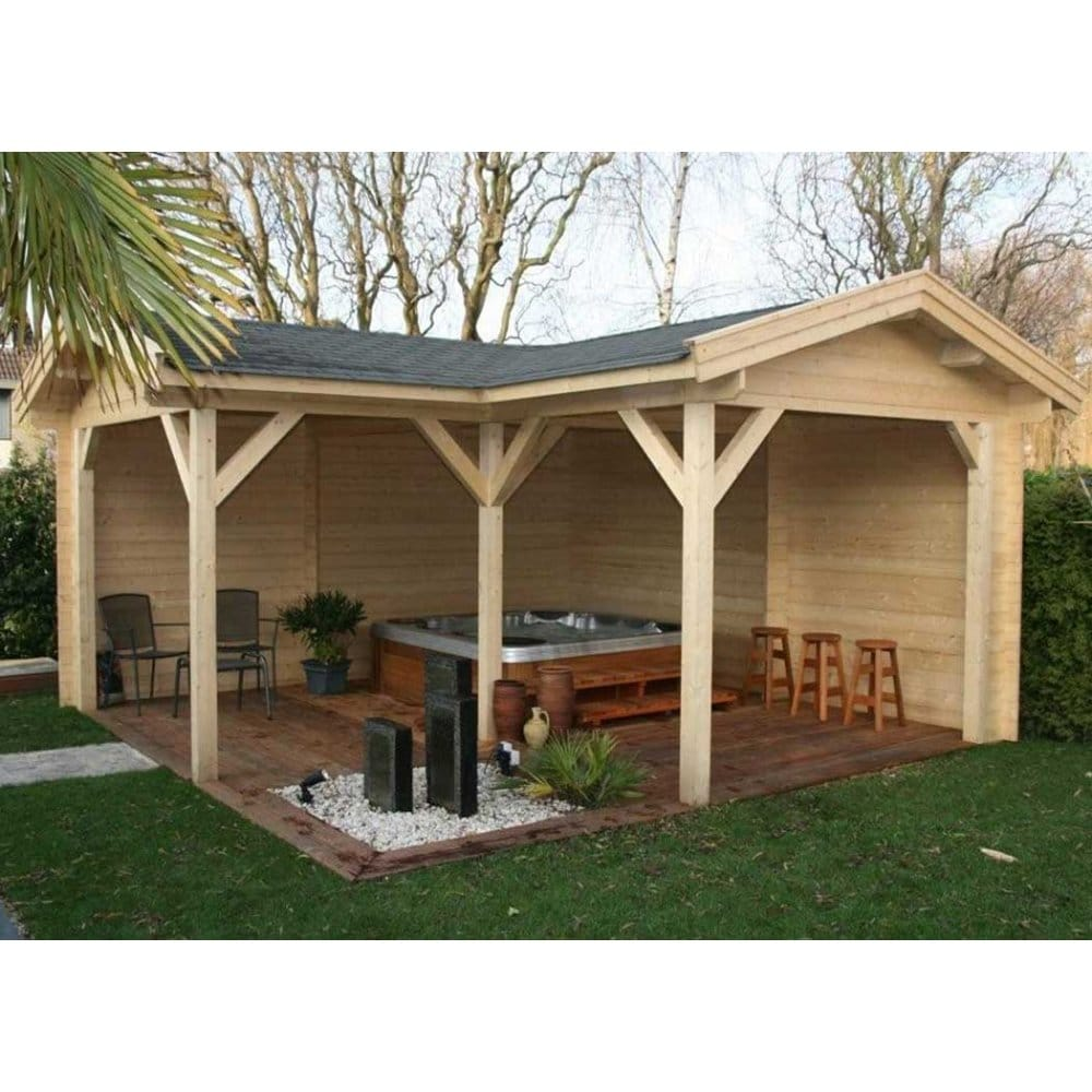 Bertsch helena 5 log cabin style gazebo l shaped design for L shaped shed