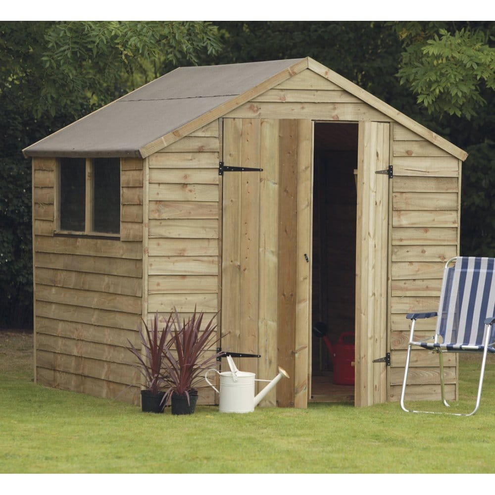 Forest garden 7x7 overlap shed with double doors for Garden shed 7x7