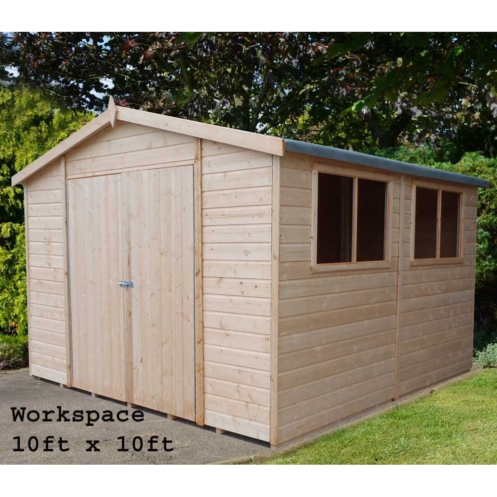 Workman garden shed workshop in 3 sizes as shown for Garden shed sizes