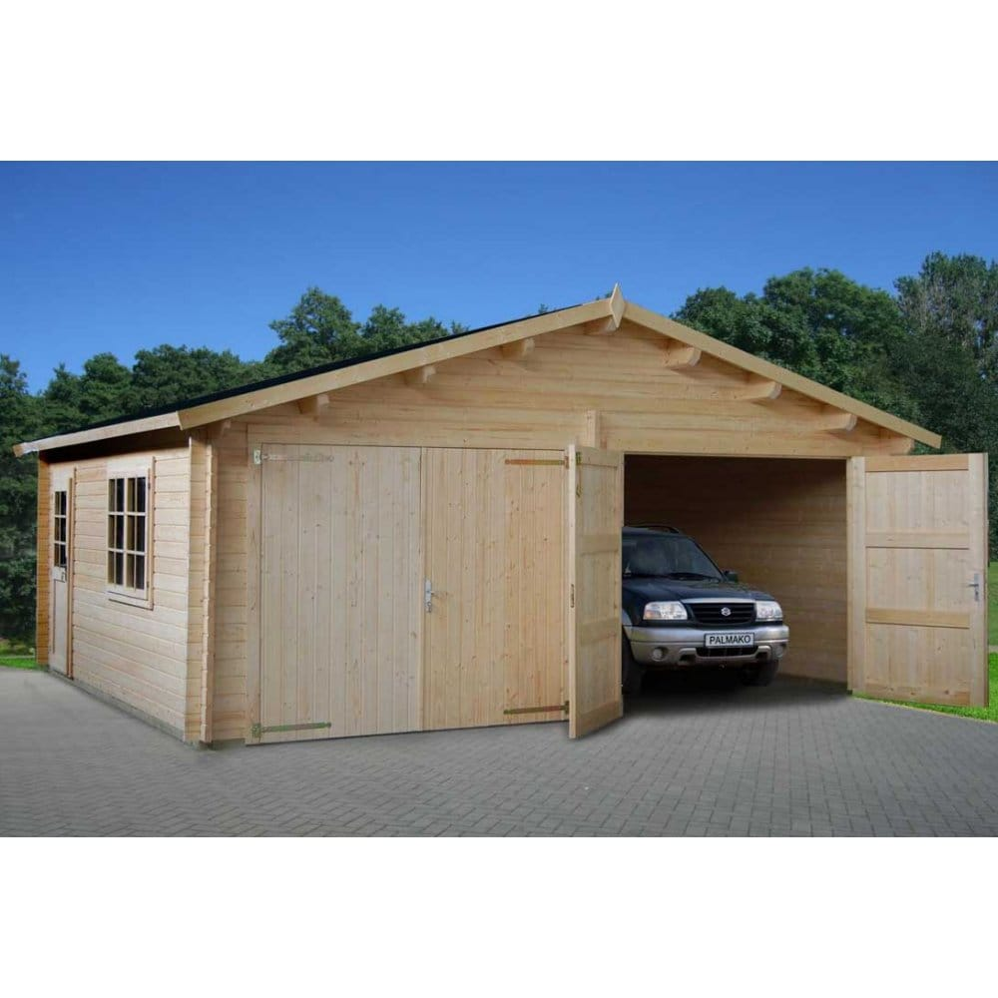 Gudrum double garage with double glazing garage door options for Double garages