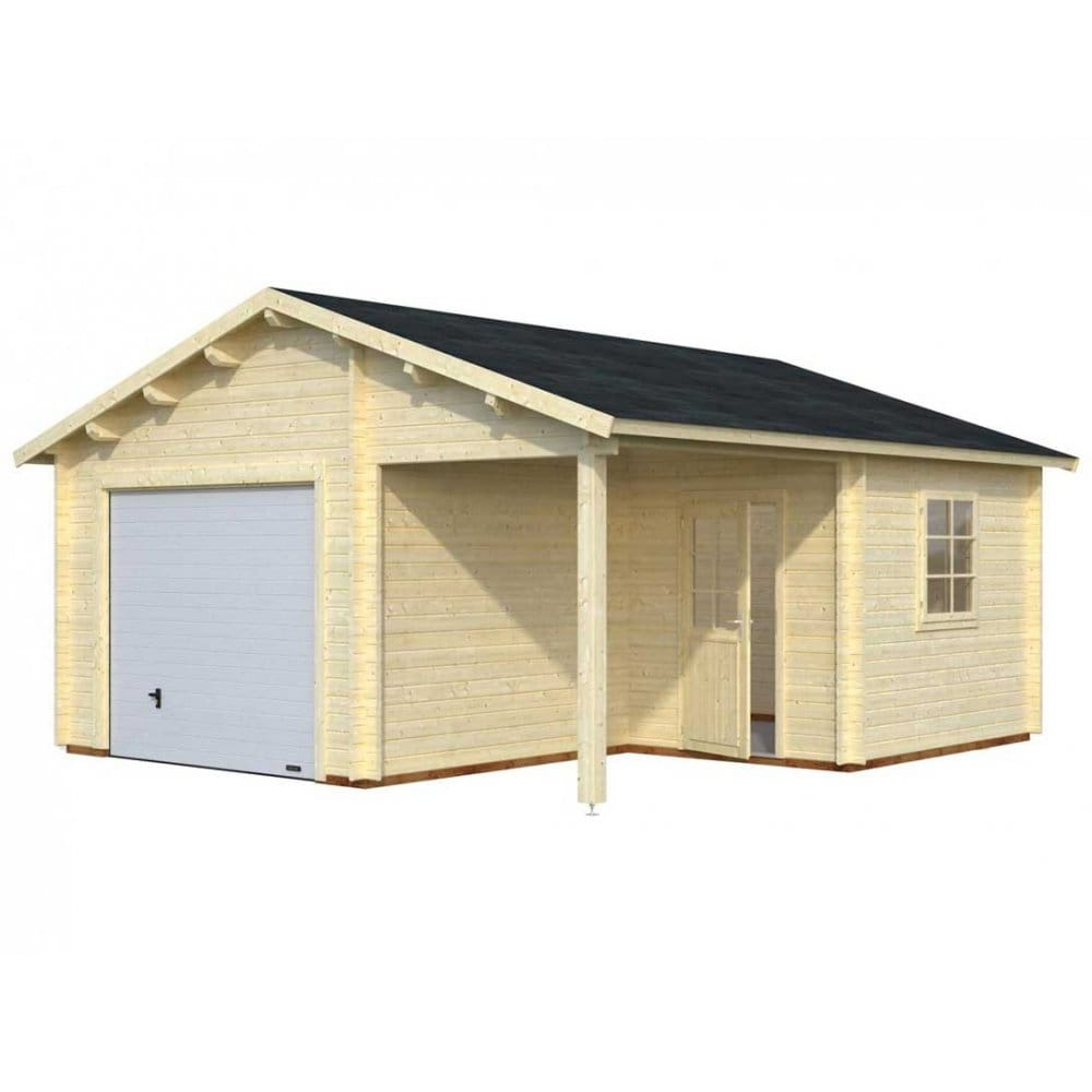 Gudrum garage 4 with 3 door options 44mm walls and double Garage cabins